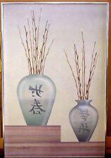 "VTG Diana Martin Airbrush Hand Signed Japanese Asian Themed 70'S Painting 36"""