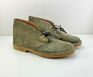 Mens Clarks Desert Boot 2 Suede Boots Size 11.5 M Olive Green Tan 56377