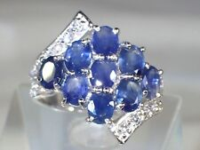 NATURAL RICH BLUE SAPPHIRE, W CZ RING SIZE 8,  925 SILVER ,14K GOLD PLATED  #208