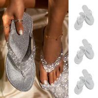 Ladies Summer Beach Slipper Thong Sandals Bling Women's Crystal Flip Flop Shoes