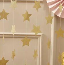 Gold Glitter Twinkle Star Bunting Garland Wedding Celebration Party Decor 4m