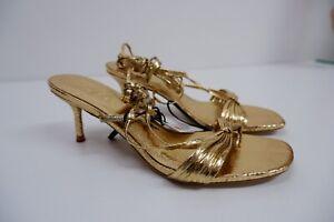 Zara Womens BRAND NEW Strappy Heels Shoes Sandals Size Uk 5 Eu 38 Gold