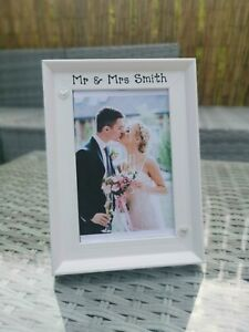 Personalised Wedding Day Photo Picture Frame In White. Wedding, Anniversary Gift