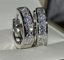 18ct/18k White Gold Filled Huggie Hoop Earrings Made With Swarovski Crystal