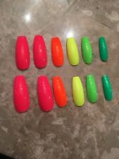 Set Of Painted Neon Rainbow Glossy Long Coffin False Nails