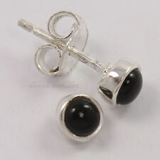 Pure 925 Silver Small Stud Post Earrings Natural 4x4mm BLACK ONYX Round Gemstone