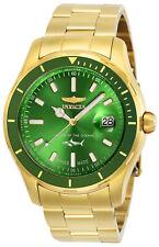 Invicta Men's Watch Pro Diver Quartz Date Green Dial Yellow Gold Bracelet 25812