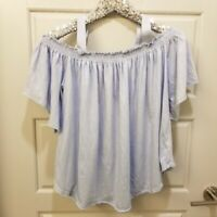 We the Free Light Chambray Blue Off Shoulder Short Sleeve Top Sz M