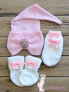 Comfy ELF Newborn Baby Infant Girl Toddler big Bow knot Hospital Beanie Hat