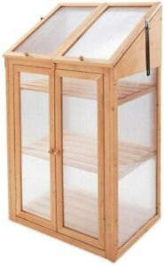 Double Wooden Door Mini Greenhouse With Transparent PolyCarbonate Window Glazing
