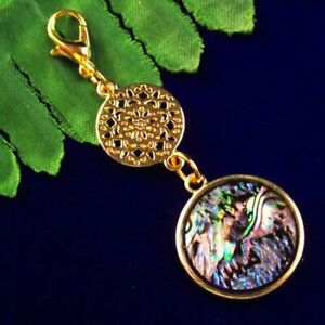 4pcs Tibetan Gold Round Abalone Shell Round Pendant Bead