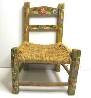 Vtg Childs Wooden Rush Seat Ladder Doll Chair Painted Floral Primitive Folk Art