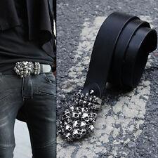 ByTheR Men's Fashion Skull Tomb Shape Decorated Custom Buckle Leather Belt UK N