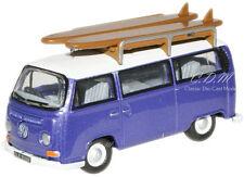 1/76 OO Scale VW Bus Metallic Purple w/Surf Boards Display Case Oxford #76VW015