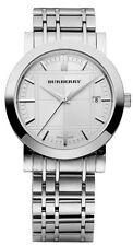 Burberry BU1350 Men's Silver Analog Wrist Watch Brand New With Box