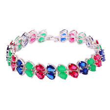 Tanzanite Tourmaline Emerald Silver Women Jewelry Gemstone Chain Bracelet NS1489