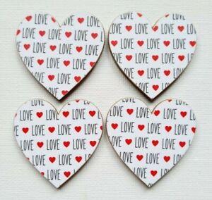 Handmade Set of 4 Wooden Heart Fridge Magnets Gorgeous Word Love Print