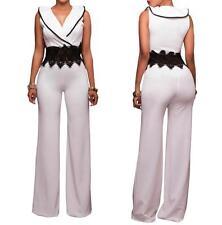 NEW WOMENS SEXY RUFFLE NECKLINE WHITE LONG PANTS JUMPSUIT ROMPER--L 64261