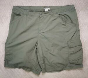 REI Womens 24W Cargo Shorts Nylon Outdoor Hiking Olive Green Plus Size
