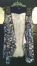New Directions Cute Open Front Vest Studded Faux Leather Trim Cardigan Top M/L