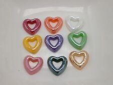 200 Mixed Color AB Heart Donut Flatback Glass Ceramic Cabochon Half Pearl 10mm