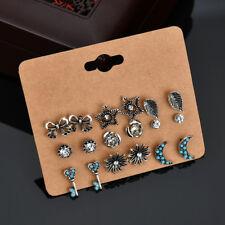 9 Pairs/Set Vintage Ear Stud Bow Leaves Moon Key Flowers Rhinestone Earrings Set