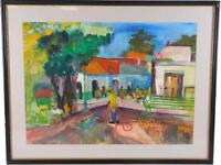 """MARIONNE WILLIAMS (AMERICAN, 20TH C.) """"TOWN SQUARE"""" WATERCOLOR ON PAPER"""