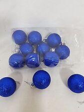 12 Palle, sfere di natale in polistirolo glitterato Blu Elettrico con laccetto