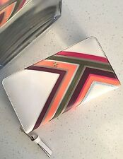 TORY BURCH ROBINSON MULTI STRIPE SAFFIANO LEATHER CONTINENTAL WALLET NEW IVORY