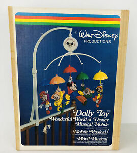 Vintage Disney Mobil 617 Baby Crib Top 1962 Mickey Mouse  Dolly Toy Musical