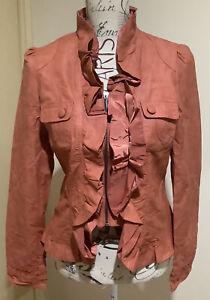 Women's Monaco Jeans RUST Ruffle Faux Leather Biker Looking Jacket Size 12 BNWT