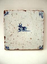 ANTIQUE 17th CENTURY  DUTCH DELFT  TILE  OF A COW , OX HEAD CORNERS.