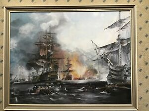 Large Framed Origianal Oil Painting of Naval Battle.