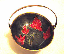 NEW BRASS CANDY/TRINKET ENAMEL DISH WITH HANDLE~RED FLOWERS~MOVABLE HANDLE