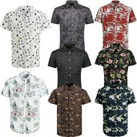 Jack & Jones Mens Botanical Print Short Sleeved Regular Fit Casual Floral Shirts