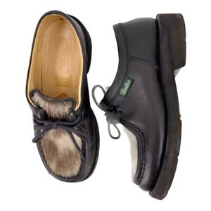 Paraboot Black Leather and Fur Lug Sole Oxfords US Size 5 / UK 3 Shoes