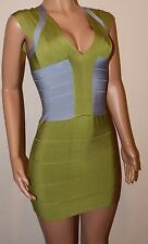Bandage bodycon lime green grey RAYON bodycon mini dress 8 10 small BNWT celeb