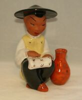 Vintage Terracotta Hand Sculpted Studio Pottery Asian Boy Reading Figurine