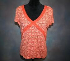 29c6389b326cf Crazy Horse by Liz Claiborne Women s XL Orange Lace Boho Design V Neck Top