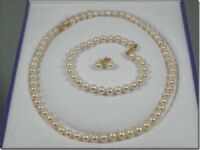 5-6mm AAA+ WHITE AKOYA PEARL BRACELET + EARRING + NECKLACE SET 14K