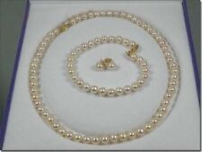 ROUND 5-6mm AAA+ WHITE AKOYA PEARL BRACELET + EARRING + NECKLACE SET 14K