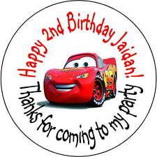 48 stickers Birthday Party 1.6 Inch Personalized lollipop Lightning McQueen cars