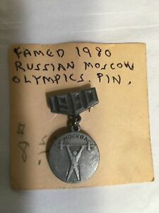 1980 rare weight lifter Olympic Games Moscow 1980 Russian USSR Pin Badge MOCKBA