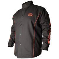 Black Stallion BSX 9oz Black w/Red Flames FR Welding Jacket (Large) (BX9C)