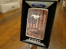 FORD MUSTANG USA FLAG AMERICAN FLAG ZIPPO LIGHTER MINT IN BOX