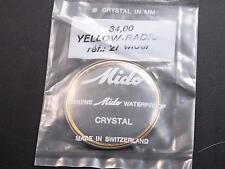 Mido Vintage Watch Crystal 34mm Yellow Radium Tension Ring Ref#21 wider Waterprf