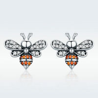 Real Cute Animal Silver Honey Bee Exquisite Stud Earrings for Women Fashion