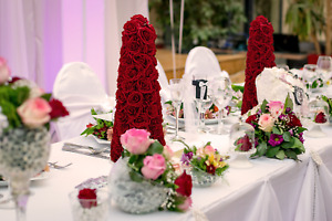Valentine's Day Red Rosebud Centerpiece Cone Tree Artificial Roses 27in Decor