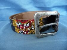 ED HARDY Belt XS S Genuine Leather Embroidered Tigers Spelled LOGO Black 1.5""