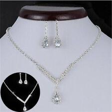 Earrings Rhinestone Crystal Wedding Bridal Party Jewelry Set Fashion Necklace